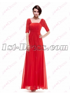 Simple Red Lace Graduation Party Dress with 1/2 Long Sleeves