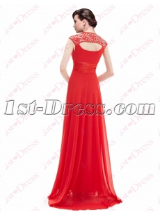 Unique Red Prom Dress with Keyhole Back