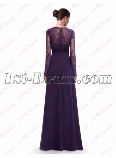 Vintage Purple Lace Long Sleeves Evening Gown