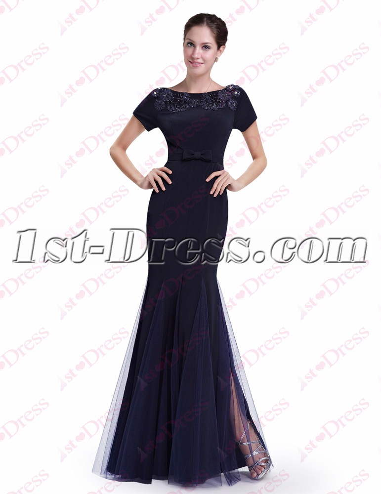 Classic Navy Blue Sheath Prom Dress with Short Sleeves:1st-dress.com