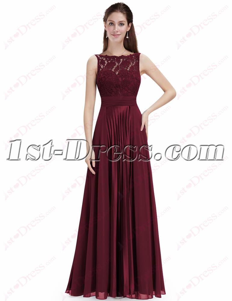 Elegant Burgundy Lace Prom Dress With Open Back1st Dress