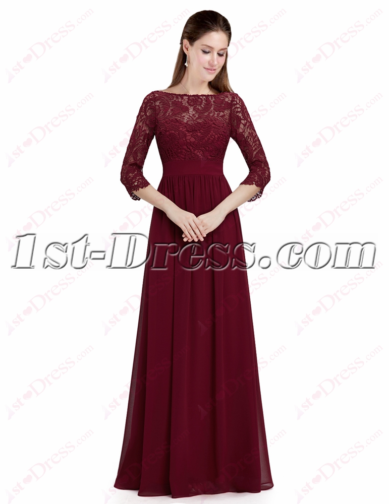 Modest Burgundy Lace 1/2 Long Sleeves Prom Dress:1st-dress.com