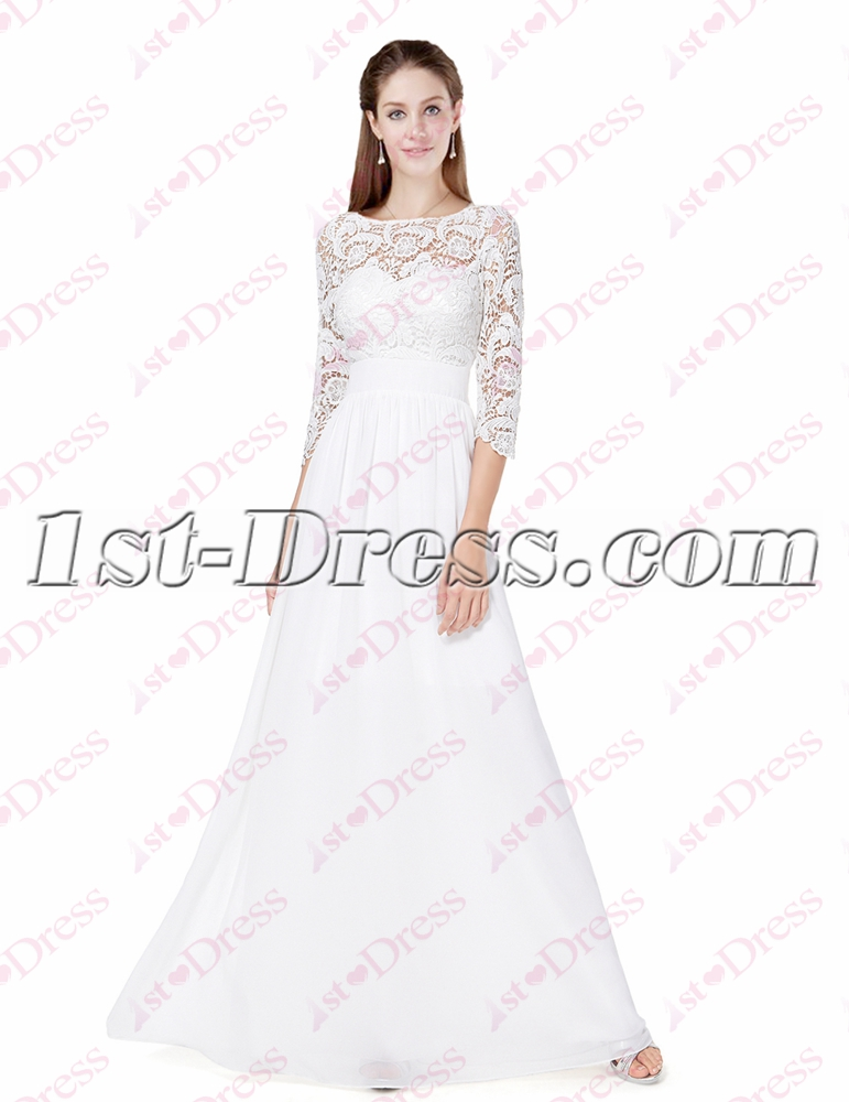 Modest White Lace Long Sleeves Formal Evening Dresses1st Dress