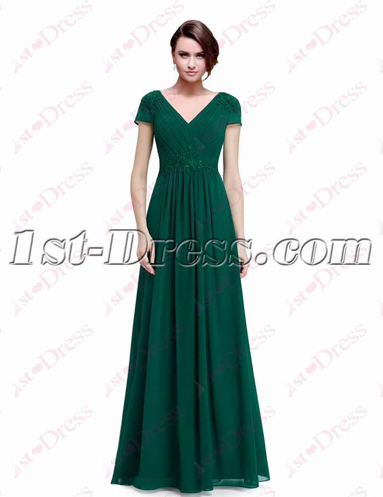 Pretty Long Green Evening Gown with Sleeves:1st-dress.com