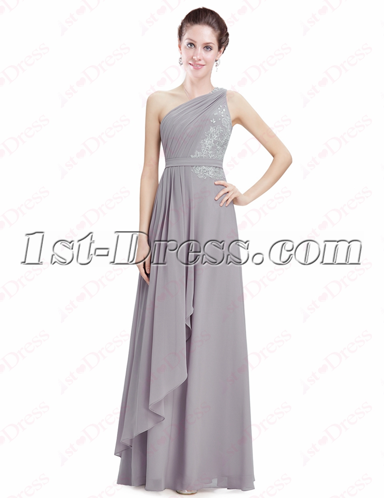 Pretty Silver Chiffon One Shoulder Evening Gown:1st-dress.com