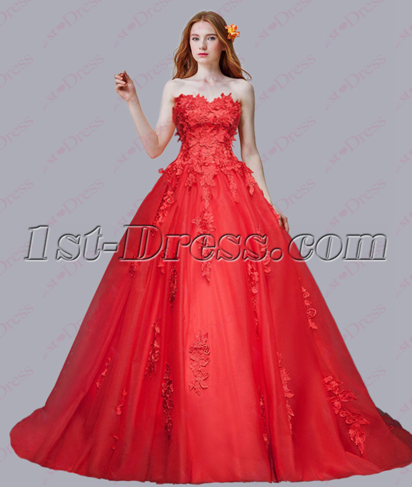 Romantic New Red Sweetheart Wedding Dress 2016