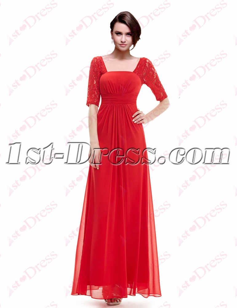 Simple Red Lace Graduation Party Dress with 1/2 Long Sleeves:1st ...