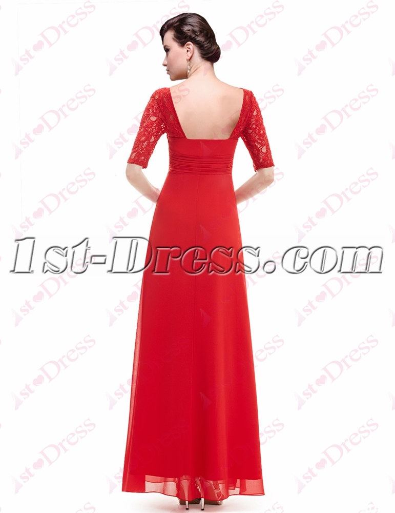 f6d4875b08d Simple Red Lace Graduation Party Dress with 1 2 Long Sleeves (Free Shipping)