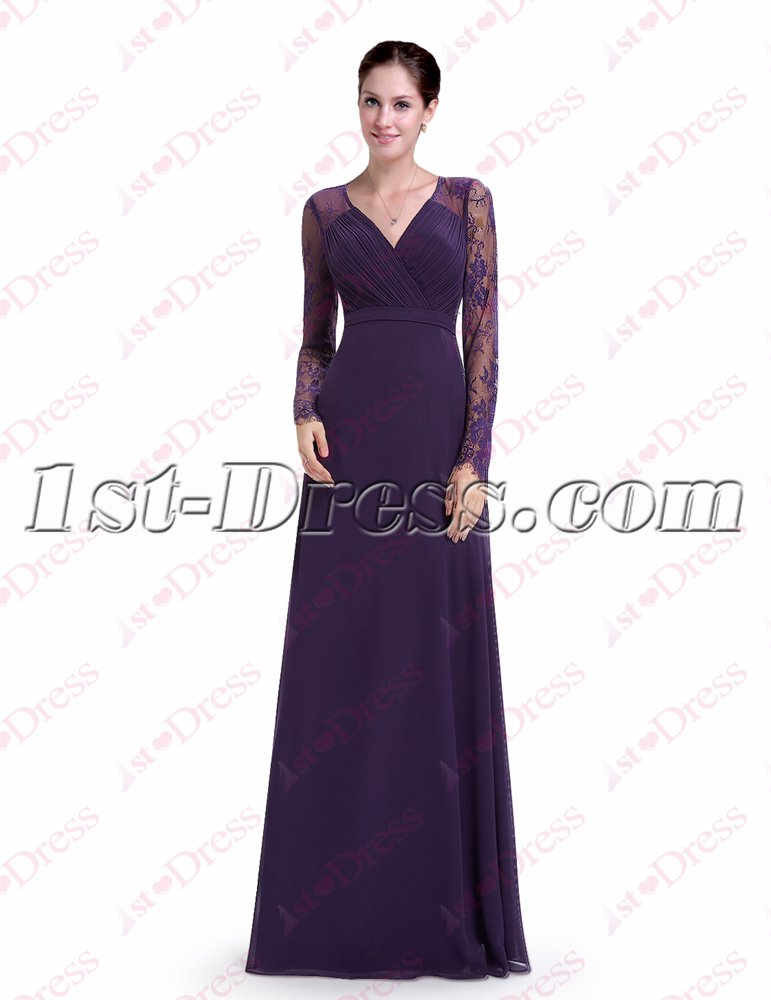 Vintage Purple Lace Long Sleeves Evening Gown:1st-dress.com