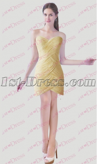 Simple Light Yellow Cocktail Dress