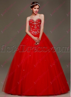 Terrific Red 2016 Sweet 15 Gown