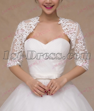 2016 Middle Sleeves Lace Wedding Jacket