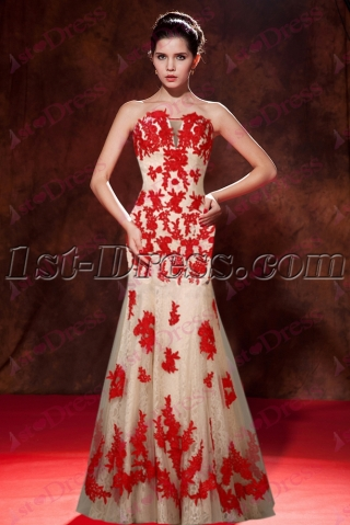 Best Red Lace Mermaid Evening Dress 2016