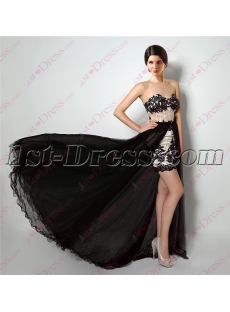 2016 Romantic Black Dress with Detachable Train