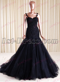 Exquisite Black Mermaid Bridal Gown with Illusion Back