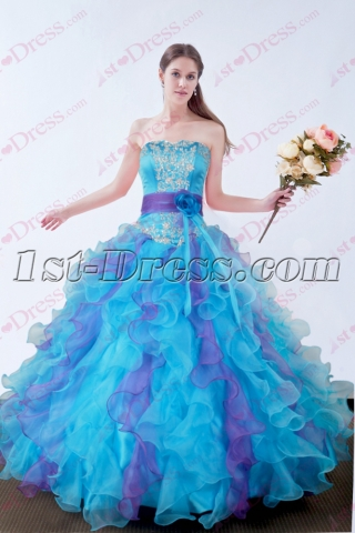 2016 Blue Quinceanera Dresses Fluffy Dress