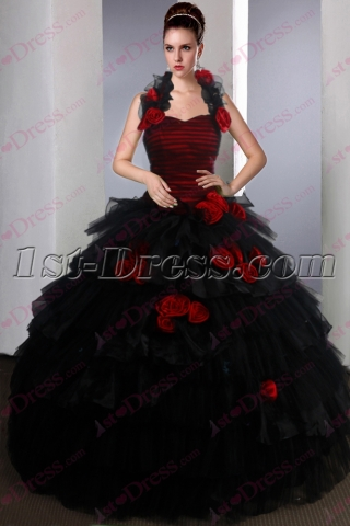 Beautiful Black and Red Sweet 15 Gown for 2017