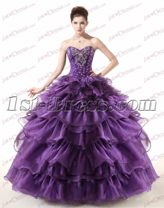 Beautiful Strapless Beaded Purple Ball Gown for 2017