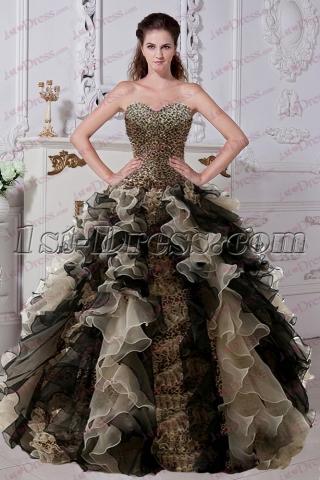 Fantastic Ruffles Leopard Quinceanera Dress 2017