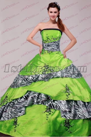 Green and Black Zebra Ball Gown 2017