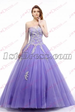 Lovely Lavender Strapless Sweet 15 Dress 2017