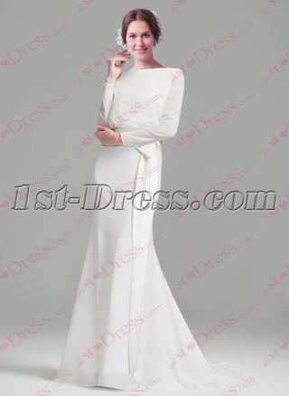 Modest Long Sleeves Sheath Wedding Dresses 2016