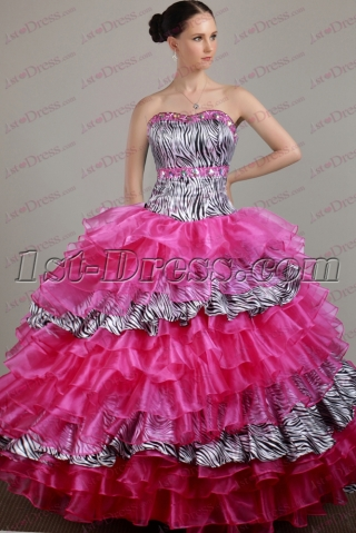 Pretty Organza Zebra Quinceanera Dress 2017
