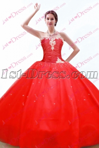 Pretty Red Puffy Quinceanera Dress 2016