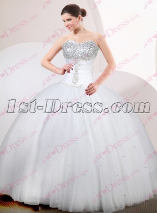 Simple White Tulle Ball Gown 2017
