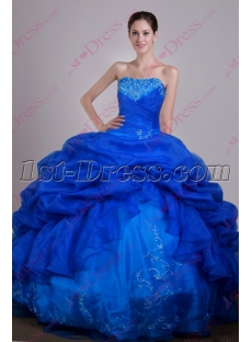 Best Organza Royal Blue Sweet 15 Gown 2016