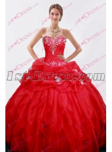 Chic Red Full 2016 Quince Dress