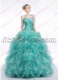 Chic Teal Blue Ruffles 2017 Quinceanera Dress