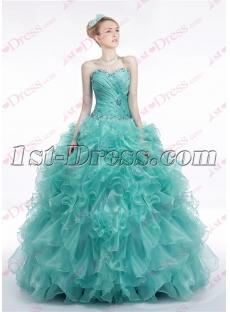 Chic Teal Blue Ruffles 2017 Quinceanera Dress