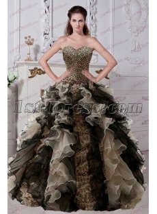 Fantastic Ruffles Leopard Quinceanera Dress 2017