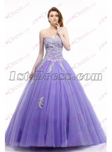 Lovely Lavender Strapless Sweet 15 Dress 2017