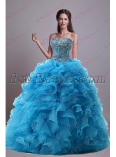 Luxury Turquoise Ruffles 2017 Quince Dress