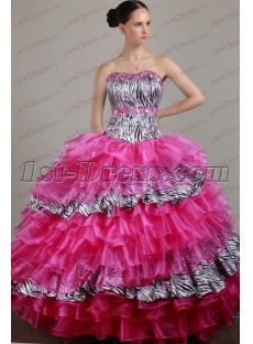 Pretty Organza Zebra Quinceanera Dress 2017