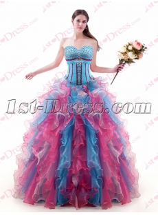 Sweet Colorful Organza Quinceanera Gown