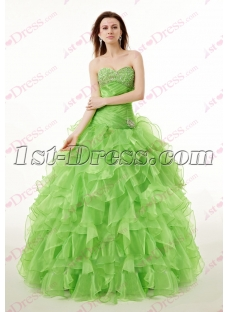Sweet Green Sweetheart Ruffles Quinceanera Dress for 2017
