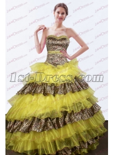 Unique Yellow Leopard Ball Gown for Sweet 15