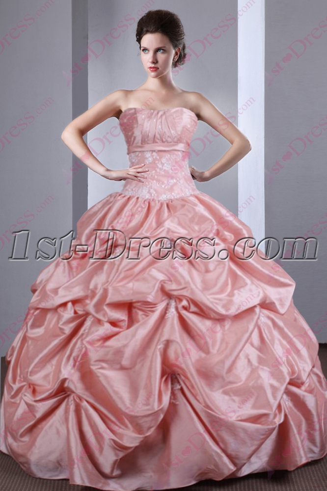 Beautiful 2016 Strapless Dusty Rose Quinceanera Gown:1st-dress.com