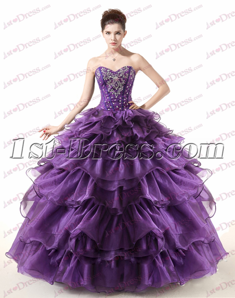 Beautiful Strapless Beaded Purple Ball Gown for 2017:1st-dress.com
