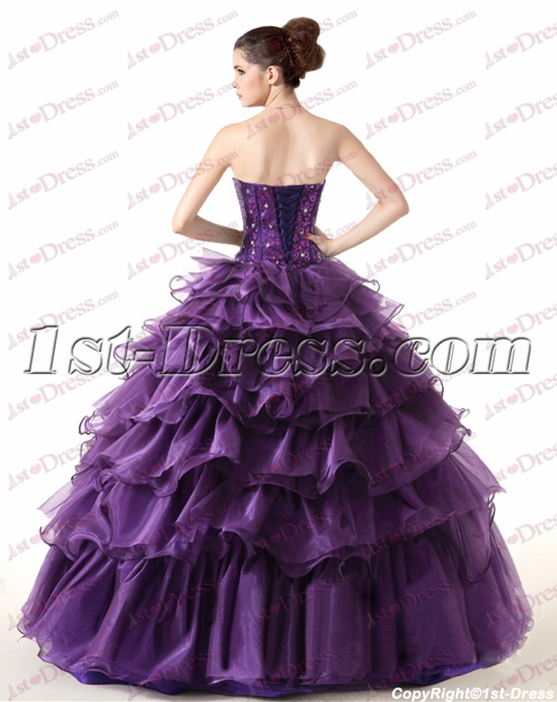 fa265799e66 Beautiful Strapless Beaded Purple Ball Gown for 2017 (Free Shipping)