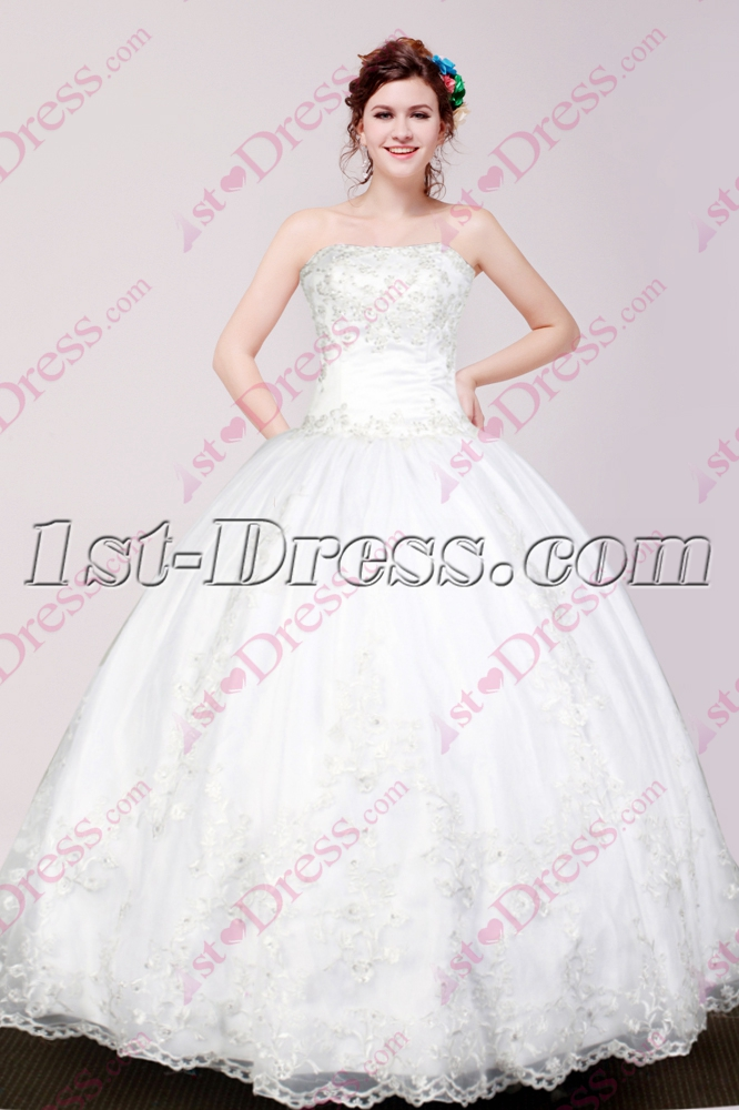 Lovely White Ball Gown Dress for Sweet 15 :1st-dress.com