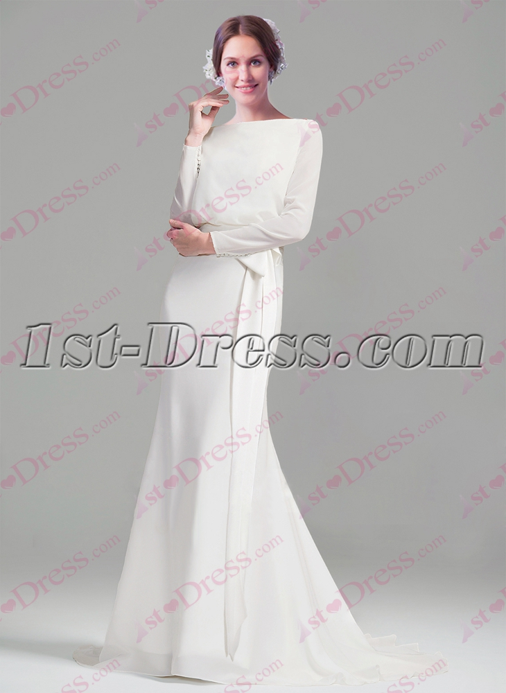 Modest Long Sleeves Sheath Wedding Dresses 2016 1st