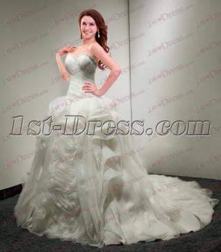 2017 Organza Ruffled Ball Gown Wedding Dresses