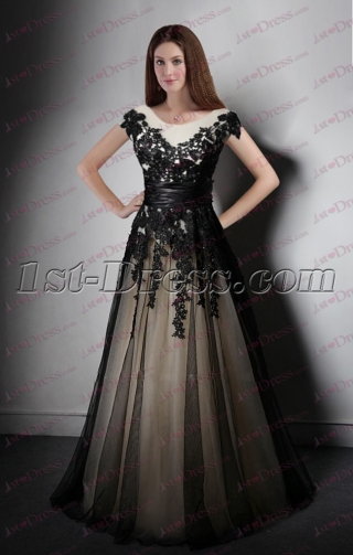 Black Lace Long Evening Dress 2016