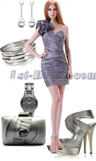 Elegant Silver One Shoulder Graduation Gown