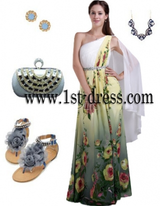 One Shoulder Printed Floral Chiffon Colorful Evening Dress IMG_0689