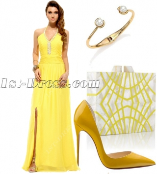 Pretty Long Sunflowers Halter Celebrity Evening Dress